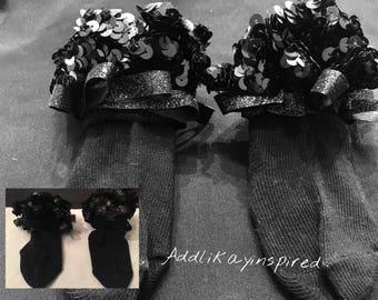 Preemie Black in an instant sequin fancy sock