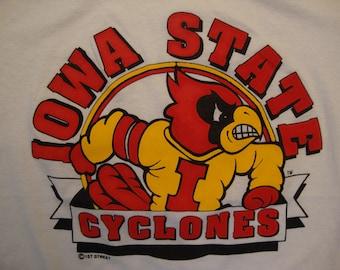 Vintage 90's NCAA Iowa State Cyclones University Sportswear Fan White T Shirt Size XL