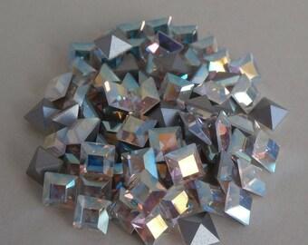 4x4 MM Square AB Aurora Borealis Swarovski Crystals ~ 8 Pieces Per Order ~ Silver Foil Back ~ 1st Quality Crystal ~ Swarovski Components