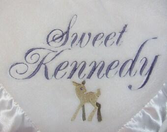 Deer Baby Blanket Custom Personalized Deer and Name Baby Blanket