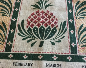 Vintage 1985 Calendar Tea Towel With Pineapple