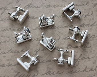 10 Sewing Machine Charms Sewing Machine Pendants Antique Silver Double Sided 11 x 13mm