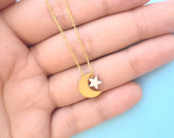 Gold crescent moon, Silver star, Gold chain, Necklace, Birthday, Friendship, Mom, Sister, Gift, Jewelry