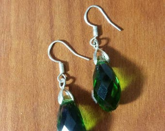 Emerald swarovski teardrop earrings.