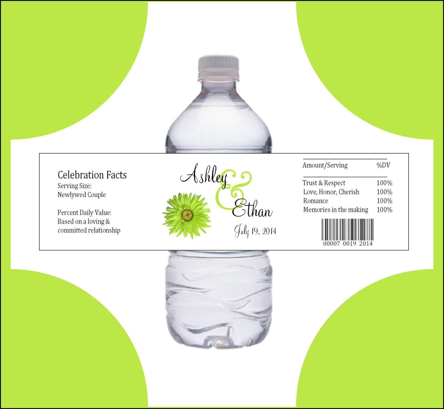 100 Lime Green Daisy water bottle labels - Wedding favors