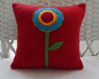 Recycled Cashmere Sweater With Big Beaded Flower Pillow - Red