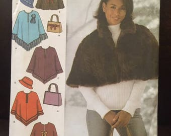 Simplicity #4785 - Misses' Capelet in 2 Lengths, Poncho, Hat, and Bag - Hat in 3 S-M-L - Capes Size BB (L-XL)