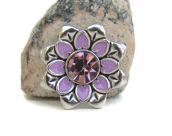 Purple and pink flower design, 20 mm, noosa style snap charm button for interchangeable snap jewelry,like ginger snaps and magnolia and vine