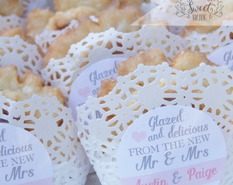 DONUT wedding favor sticker perfect on boxes & bags.  Glazed and Delicious from the new Mr Mrs. Includes size, qty and color of choice