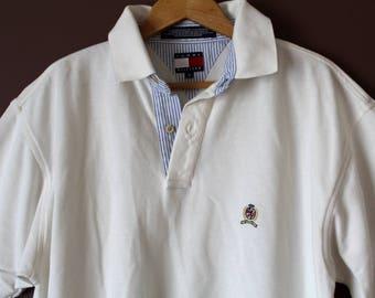 90's TOMMY HILFIGER T Shirt, Vintage Tommy Hilfiger Polo Shirt, Ivory Hilfiger Sweatshirt, Tommy Hilfiger T-Shirt, Large Size Tommy