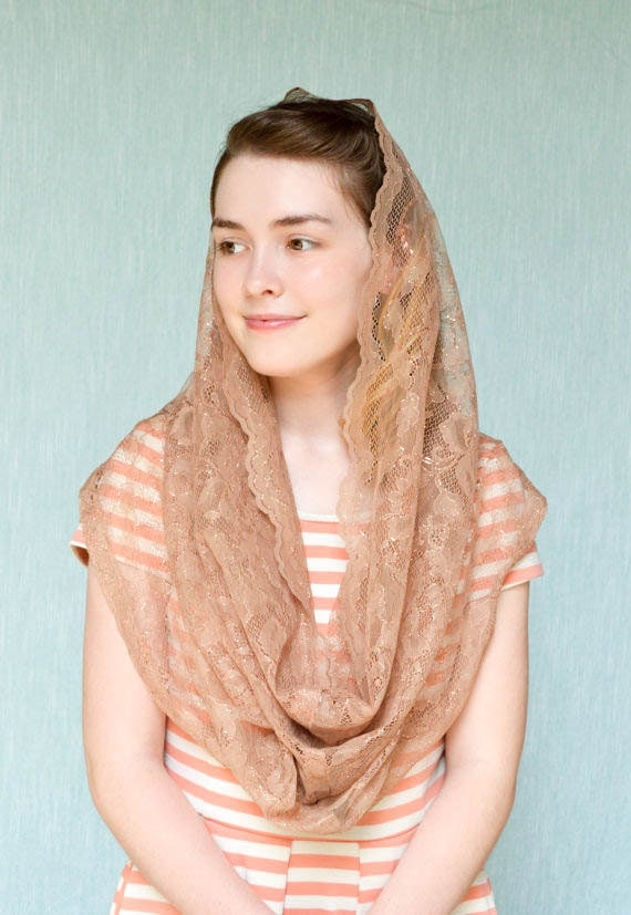 Soft Shimmering Tan and Copper Lace Infinity Chapel Veil |Catholic Chapel Veil Mantilla Veil for Mass Veil Robin Nest Lane Catholic Mantilla