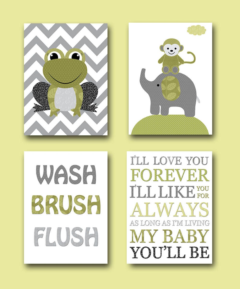Gray Green Frog Monkey Elephant Boy Nursery Quotes Wash Brush