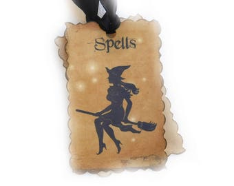 Pretty Flying Witch Gift Tags, Halloween Hang Tags for Treat Bags or Party Favors, Spells, Vintage Style, Bridal Shower, Set of 10