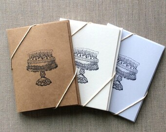 6 Wedding Cake Card Set, Anniversary Cards, Wedding Note Cards
