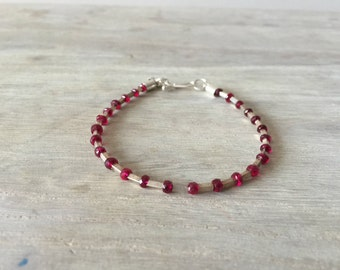 Men's Ruby Bracelet with Sterling Silver Tubes