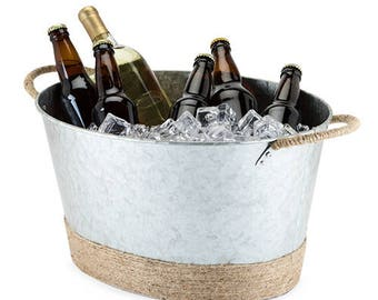 Silver Galvanized Jute Rope Wrapped Beverage Tub