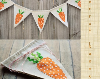 Carrot banner, carrot garland  pennant  carrot bunting easter carrots, Orange green Easter props canvas banner easter  Made to Order
