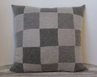 "Recycled wool sweater slipcover for 18"" cushion -- light grey"