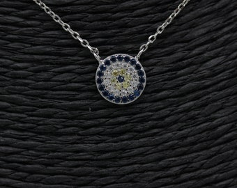 Tiny evil eye necklace/ White, Yellow and Blue Zirconia