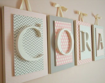 Nursery letters, Pink and Gray Nursery Letters, Pink and Gray Nursery Decor, Girls Nursery Decor Ideas,Wooden Wall Letters for Girls Nursery