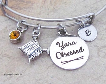 Yarn Obsessed Knitting Needle Yarn Personalized Hand Stamped Initial Birthstone Knitting Charm Stainless Steel Bangle