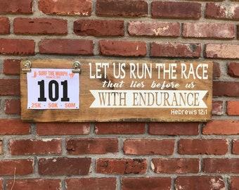 Race Bib and Medal Holder, Running Medal Holder, Medal Display, Bib Display, Gift For Runners, Marathon Gift, Keep Running the Race