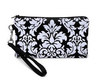 Wristlet Wallet, Women's iPhone 8 Plus Clutch, Galaxy S8 Wristlet Pouch, Small Errand Runner, Coupon Zipper Purse - black dandy damask