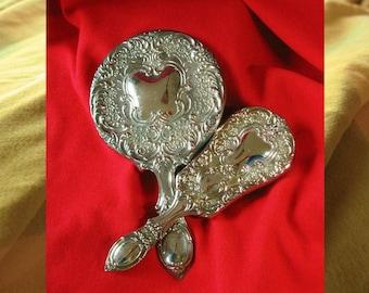 Vintage 30s Vanity BRUSH n MIRROR SET, Heavy Silver Plate Like New Brush n Mirror Set, Never Used 30s Vintage Victorian Style Brush n Mirror