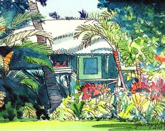 Kauai Plantation Cottage, kauai giclee print,  tropical house art, vacation art, plantation house art, waimea kauai