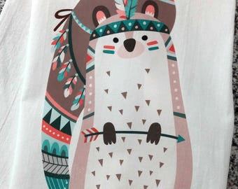 Funny tribal squirrel tea towel, Flour Sack kitchen dish towel, bohemian gift, squirrel, housewarming gift, funny hand towel, dish cloth