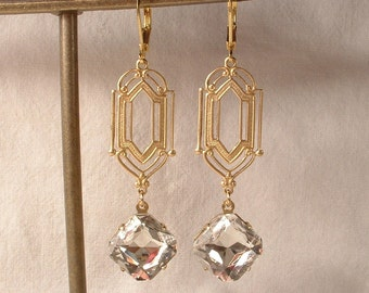Art Deco Clear Rhinestone Gold Dangle Earrings, Long 1920s Bridal Earrings, Flapper Great Gatsby Vintage Wedding Jewelry Bridesmaid Gift