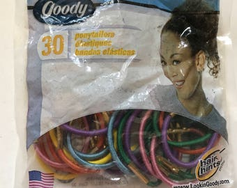 1 unopened Pack of Colorful Elastic Ponytail Holders - 30 count