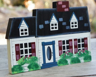 Vintage 90s Hand Painted Wooden Cottage Wall Hanging/Farmhouse Decor/Cottage Chic