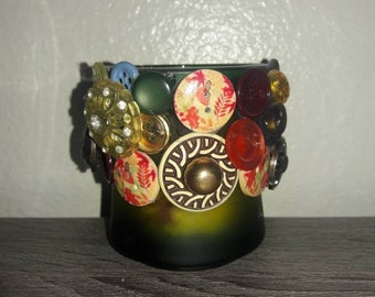 Vintage Button candle holder or novitly accent to house and home.