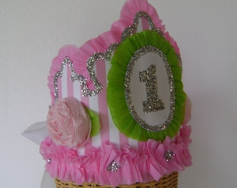 1st Birthday Party Crown, 1st birthday party hat, 1st birthday, pink stripe birthday hat, customize