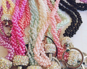 Faux Pearl Lanyards 10 Color Selections Sets of 2 and 4  Travel Groups Bridesmaid Gift Sorority Event Mix and Match