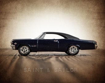 Vintage Muscle Car Photo Print , Navy and Black 65 Impala, Boys Wall Art, Car Prints, Boys Wall Art, Boys Room Decor