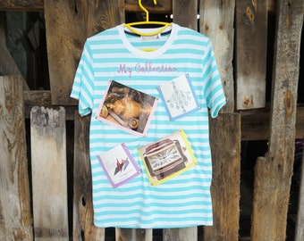 Photo Frame on T-Shirt(Green Color Stripe )-New Trend Wall Decorate-Idea for Home Decor