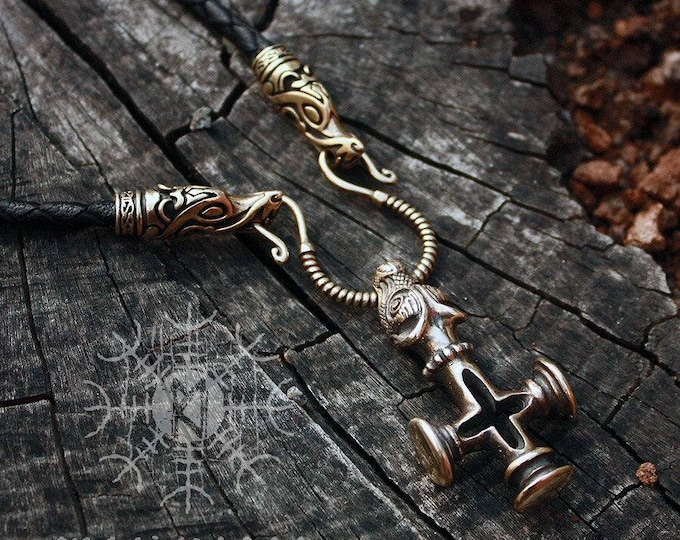 Bronze Thor's Hammer Olaf Cross Wolf Mjolnir Handmade Genuine Braided Leather Necklace
