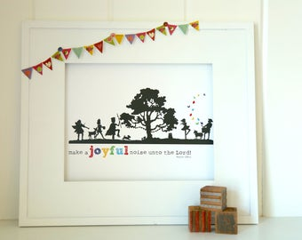 Bold Font - Silhouette Scripture Print - Make A JOYFUL Noise - Children's room wall art - boy or girl playroom or nursery decor