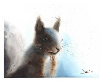 SQUIRREL ART PRINT - squirrel painting, squirrel wall art, squirrel decor, squirrel print, watercolor squirrel artwork, squirrel gift
