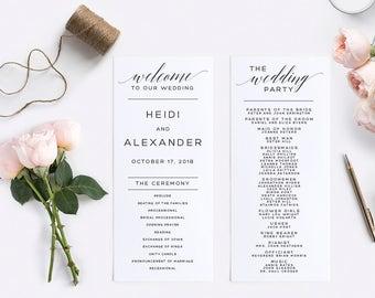 Wedding Program Template, Instant Download,  Printable, Editable PDF, DIY Wedding Program, Digital Calligraphy, Printable Wedding, #SN013_P