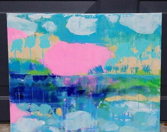 Abstract landscape painting in pink, mint, and blues