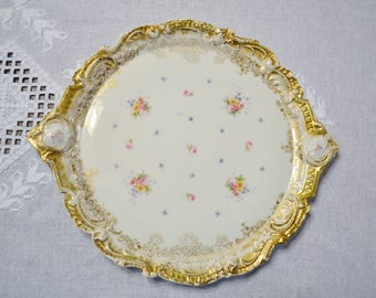 Vintage Limoges Round Platter Charger Plate Floral Pattern Lewis Straus and Sons Porcelain France PanchosPorch