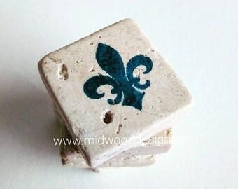 Fleur De Lis ivory travertine magnets choose your color