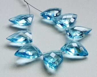 8 Pcs Swiss Blue Hydro Quartz Faceted Fancy Shape Side Drilled Beads, 13x18mm Checker Cut Fancy Shape Hydro, Blue Quartz Beads - KS5114