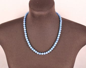 Pale blue agate necklace. Light blue gemstone necklace. Faceted blue stone necklace. Sundance necklace. Faceted aquamarine beaded necklace.