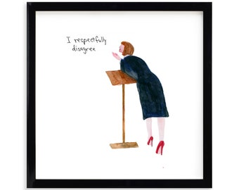"""I Respectfully Disagree, Lawyer Limited Edition Archival Prints by Simon Schneiderman Framed 18"""" x 18"""""""