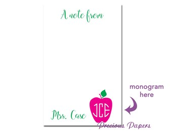 Personalized Teacher note pads Personalized teacher gift Personalized teacher Monogrammed apple notepads