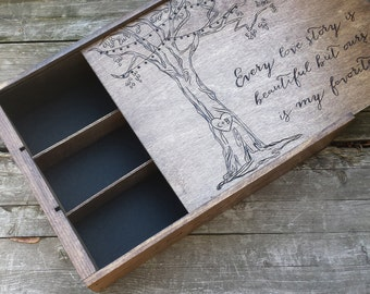Anniversary wine box, three bottle wine box, wooden wine box, wooden wine crate, wedding wine box, tree wine box, fifth anniversary gift